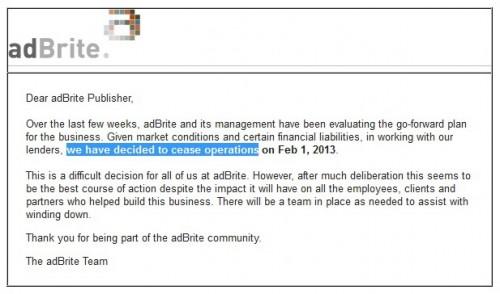 AdBrite Tutup Februari 2013