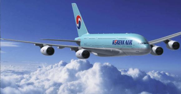 Sebuah Pesawat Korean Air Lines Sedang Mengudara