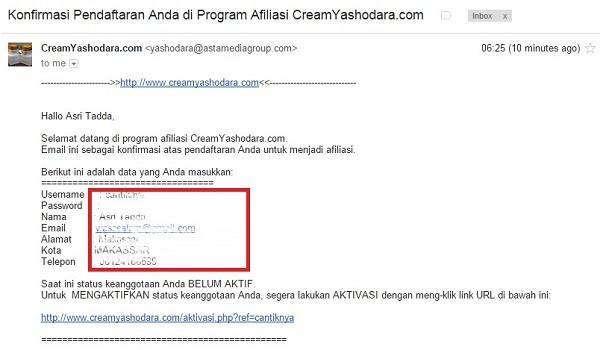 Email Konfirmasi Pendaftaran Program Afiliasi Cream Yashodara