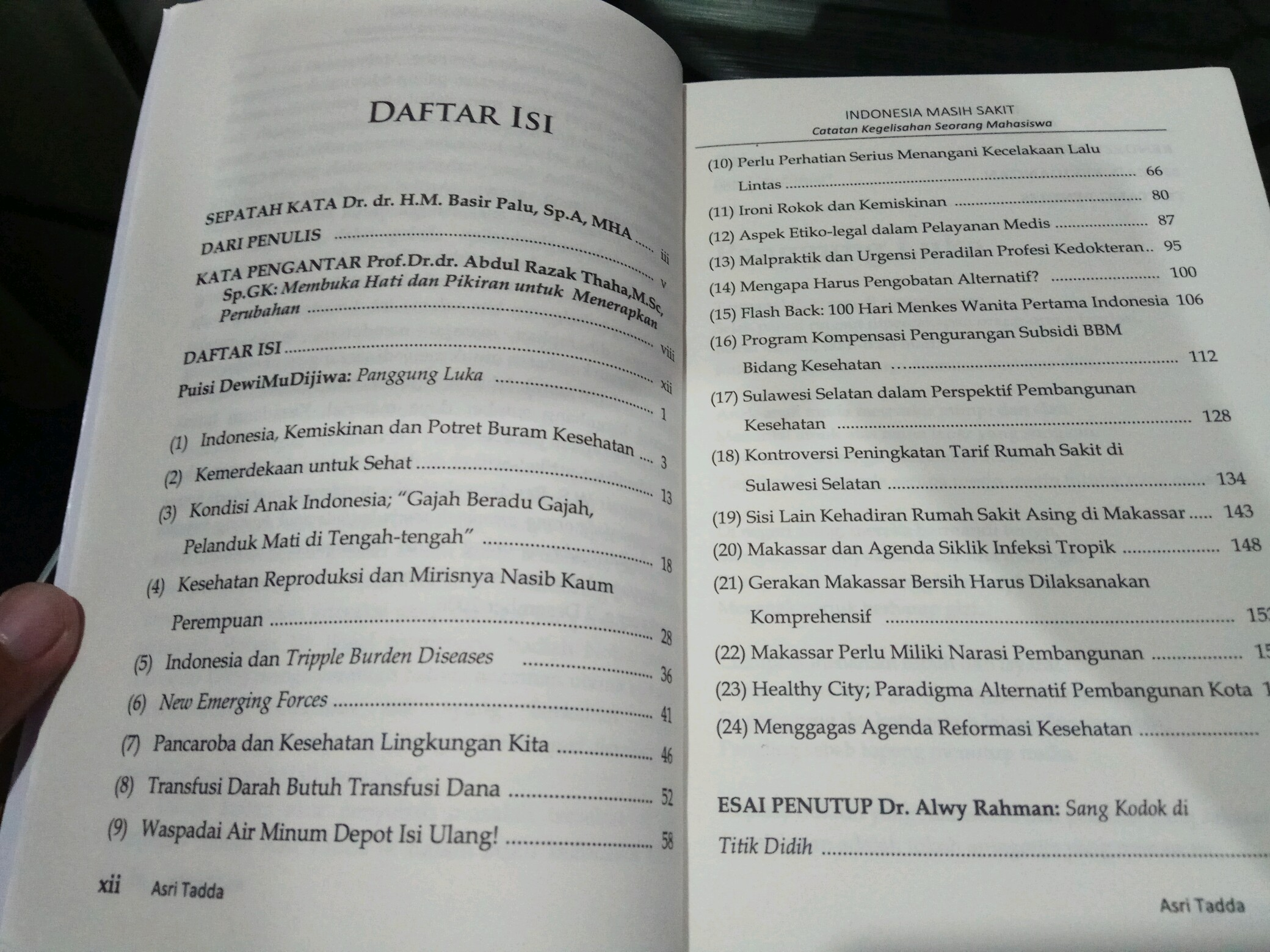 Daftar Isi Buku Indonesia Masih Sakit karya Asri Tadda